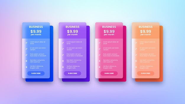 Modern web pricing table design for business