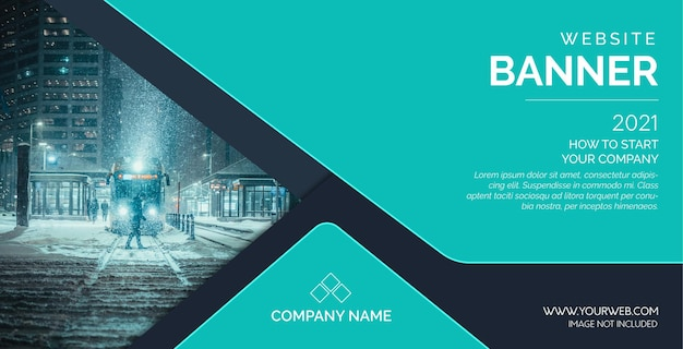 Modern website banner template with abstract shapes