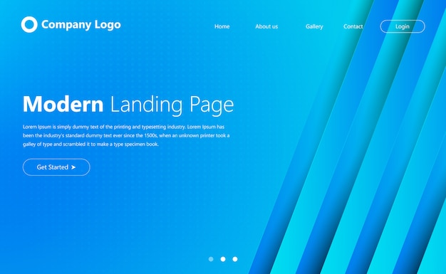 Modern website landing page design