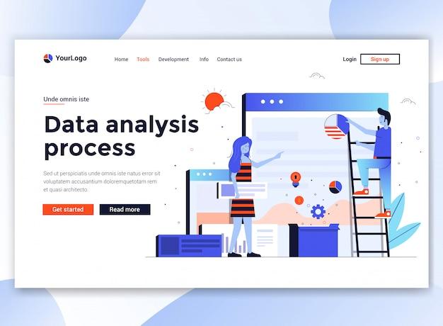 Modern  of website template - data analysis process