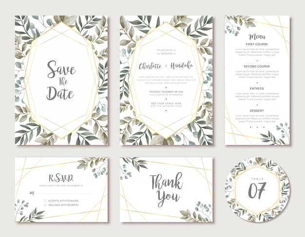 Modern wedding card template suite with green watercolor leaves