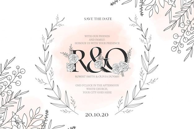 Современная свадебная открытка с цветами