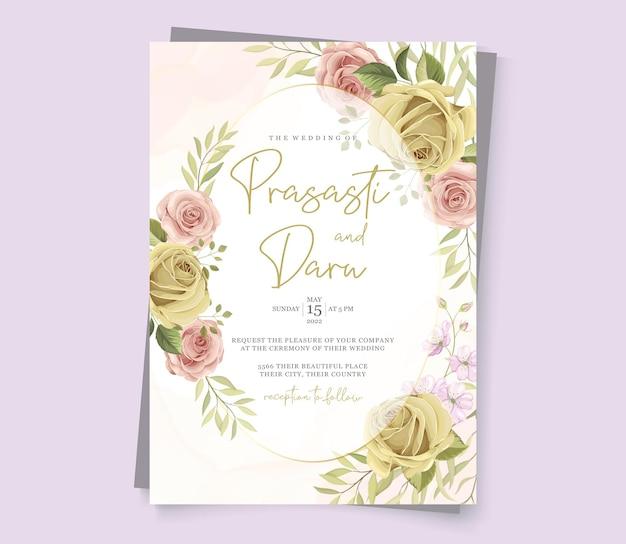 花柄のモダンなウェディングカード