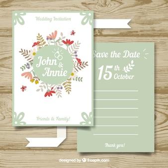 Modern wedding card with floral stye