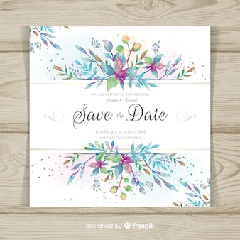 Modern wedding card with watercolor leaves