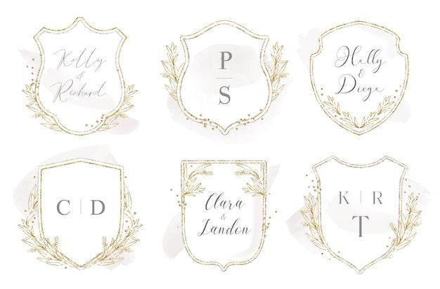 Modern wedding crest logo design with laurels and gold glitter