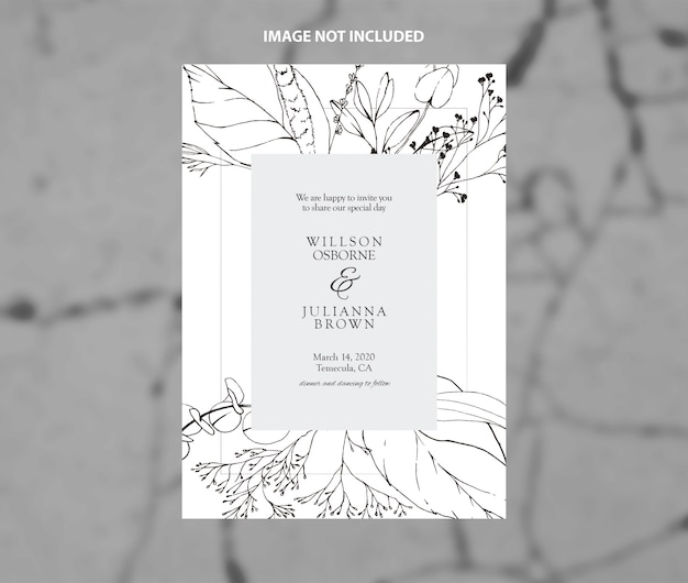 Modern wedding invitation black and white branches vector template