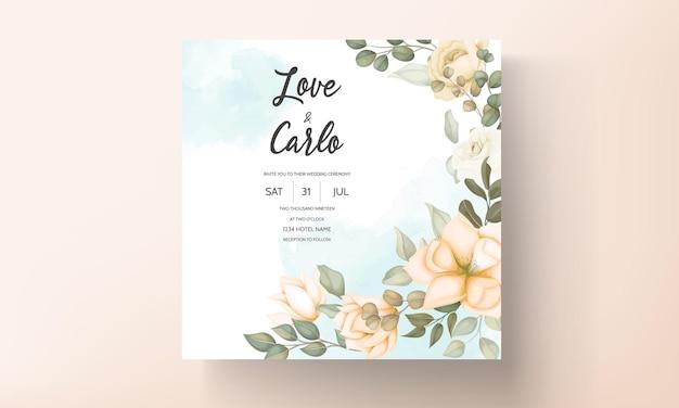 Современный свадебный пригласительный билет с цветком и листьями