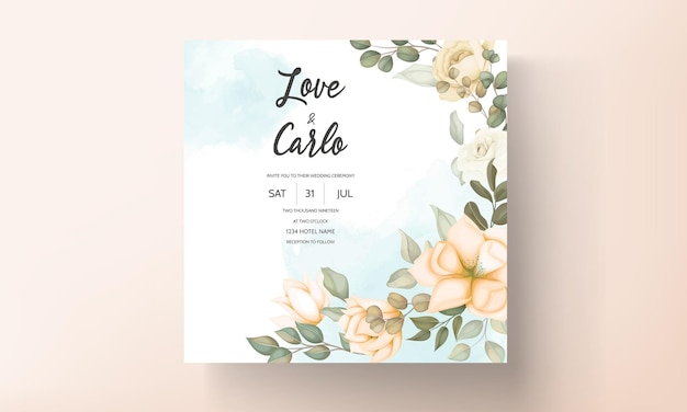 Progettazione moderna del fiore e delle foglie della carta dell'invito di nozze