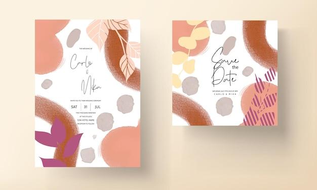 현대 결혼식 초대 카드 잎 디자인 장식품