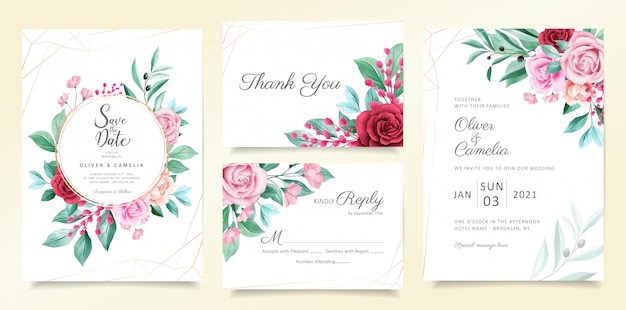 Modern wedding invitation card template set with watercolor flowers and geometric line decoration