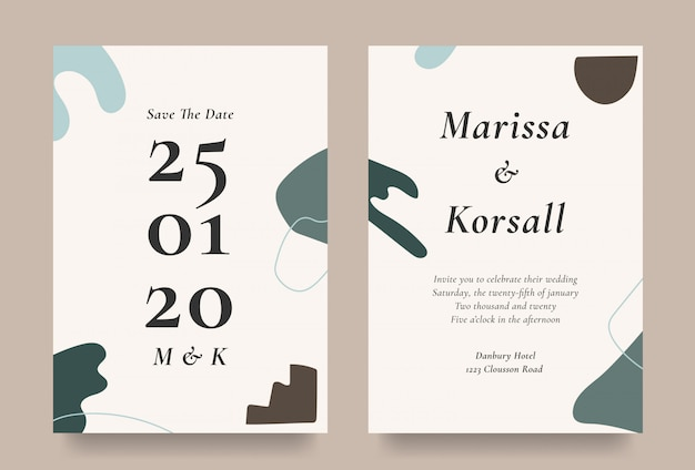 Modern wedding invitation card with abstract shape element