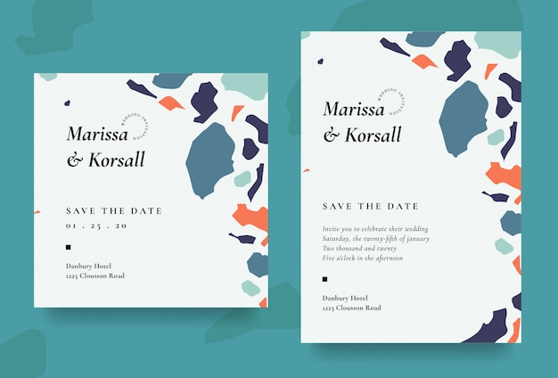 Modern wedding invitation card with abstract shape