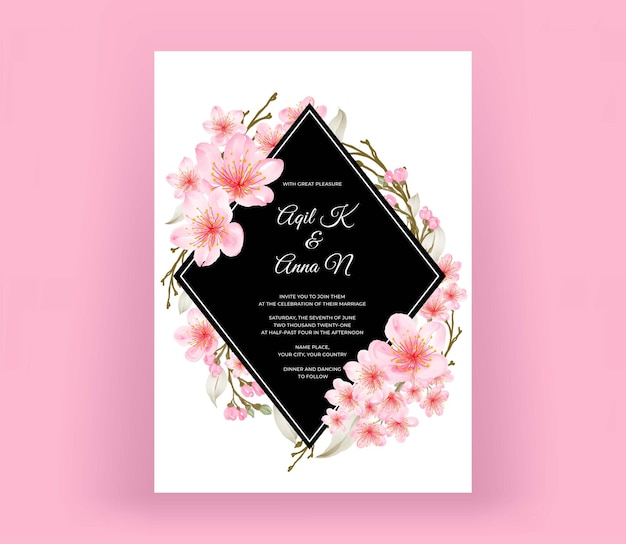 Modern wedding invitation card with beautiful cherry blossom