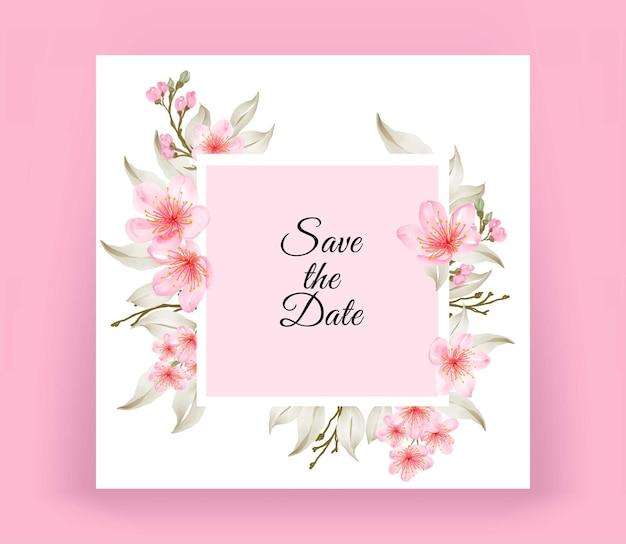 아름다운 벚꽃과 현대 청첩장