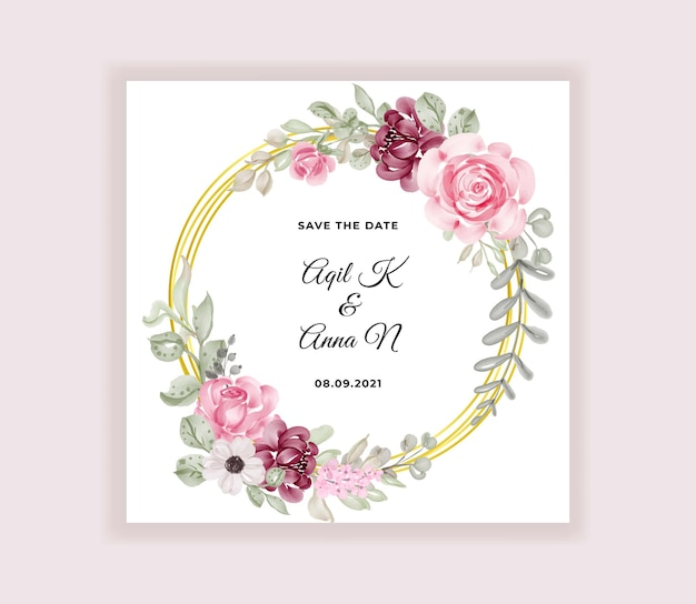 Modern wedding invitation card with beautiful flowers wreath