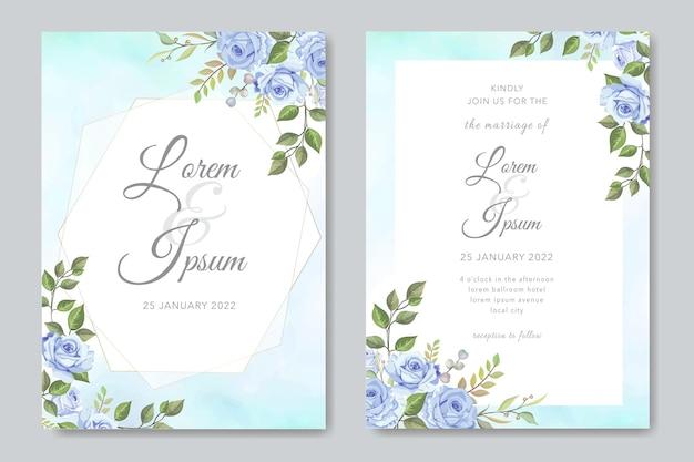 아름다운 꽃을 가진 현대 결혼식 초대 카드
