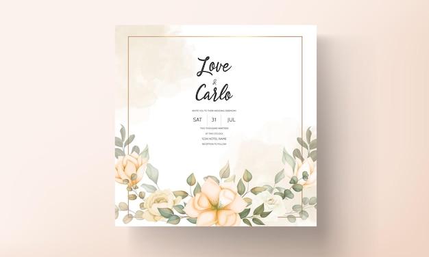 Современная свадебная пригласительная открытка с красивыми цветами