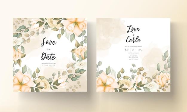 美しい花とモダンな結婚式の招待カード