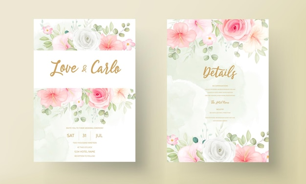 Modern wedding invitation card with beautiful flowers