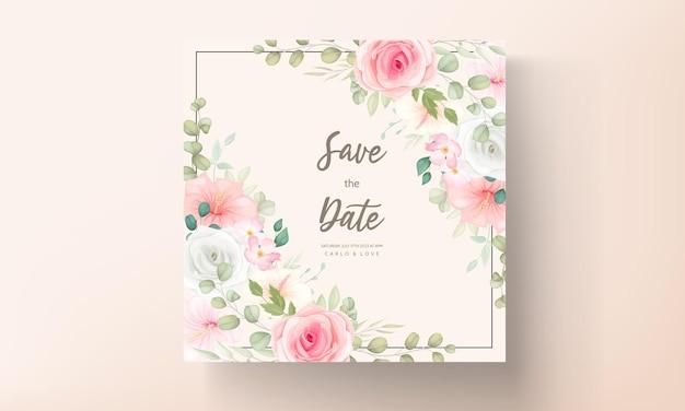 Modern wedding invitation card with beautiful flowers