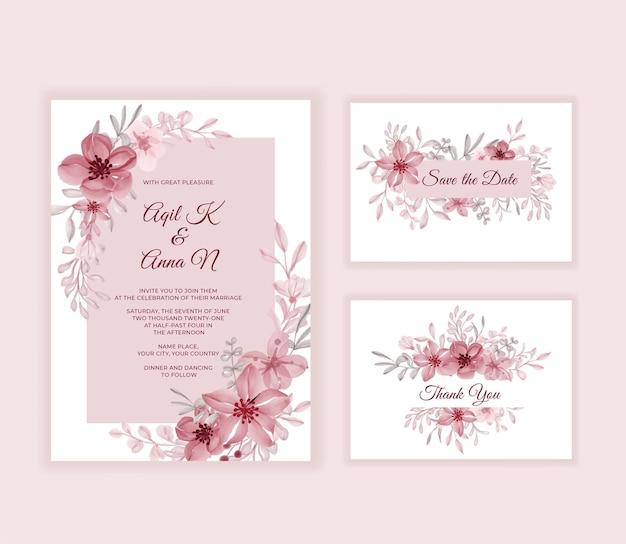 美しいピンクの花とモダンな結婚式の招待カード