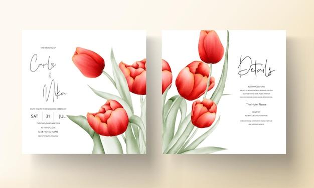Современная свадебная пригласительная открытка с красивым красным тюльпаном