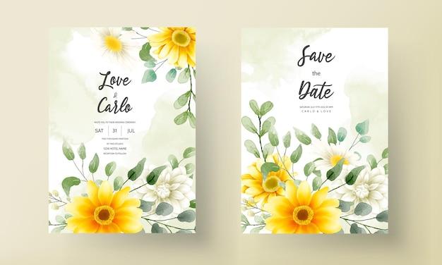 美しい水彩画の花の装飾が施されたモダンな結婚式の招待カード