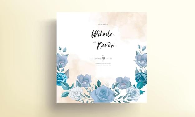 파란 꽃을 가진 현대 결혼식 안 내장 카드