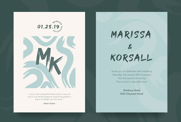Modern wedding invitation card with cool brush design