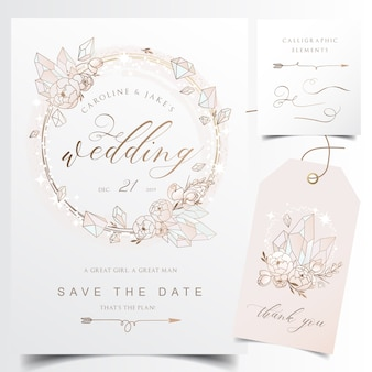 Modern wedding invitation card with crystal flower wreath