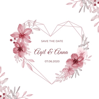 기하학적 사랑 모양 핑크 꽃과 현대 결혼식 초대 카드