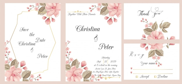 Modern wedding invitation card with thank you card and rsvp