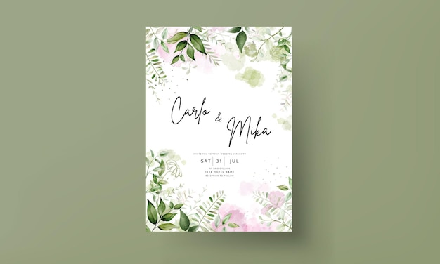 Modern wedding invitation card with watercolor leaves
