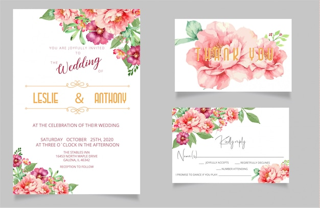 Modern wedding invitation cards and rsvp thank you card