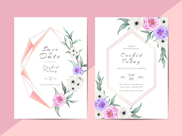 Modern wedding invitation  cards with geometric frame