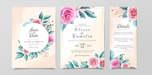 花の装飾と水彩背景入りモダンな結婚式招待状ひな形テンプレート