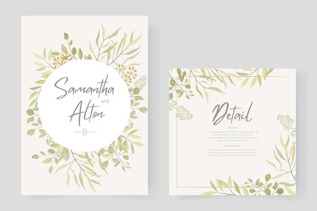 葉飾りとモダンな結婚式の招待状のテンプレートデザイン