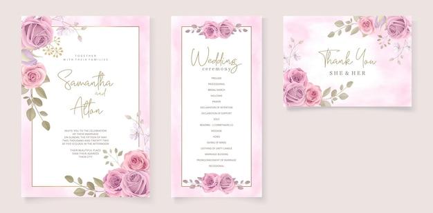 ピンクの花柄のデザインのモダンな結婚式の招待状のテンプレート