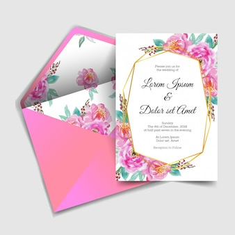 Modern wedding invitation watercolor flower