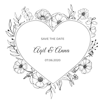 Modern wedding invitation with beautiful line art flower