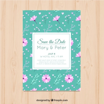 Modern wedding invitation with floral background