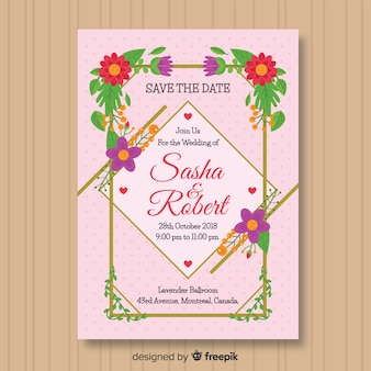 Modern wedding invitation with flowers and golden lines
