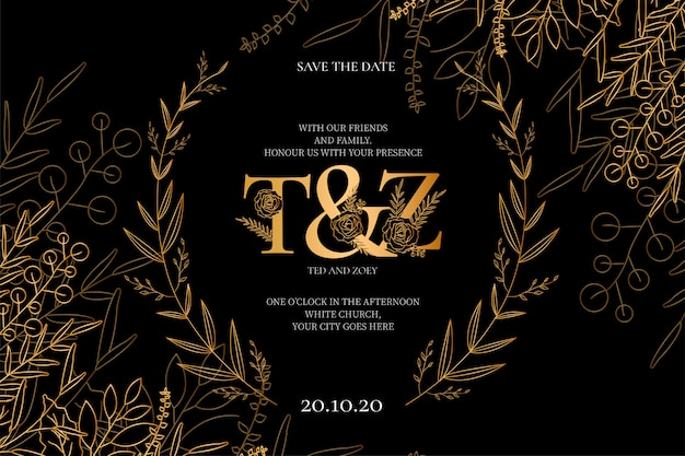 Modern wedding invitation with golden flowers