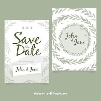 Modern wedding invitation with leaves