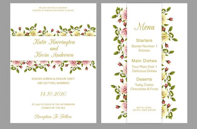 Modern wedding invitation with menu card