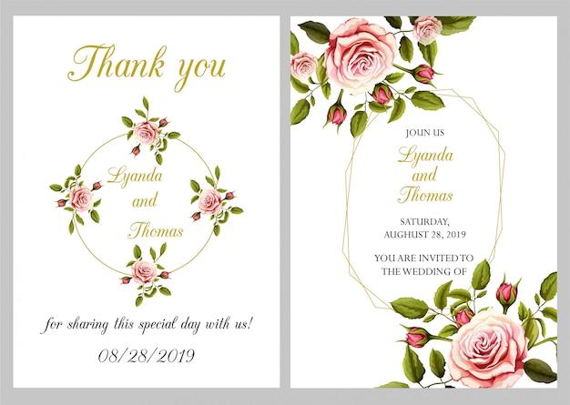 Modern wedding invitation with thank you
