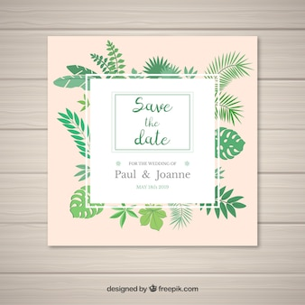 Modern wedding invitation with tropical style