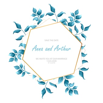 Modern wedding invitation with watercolor floral elements.