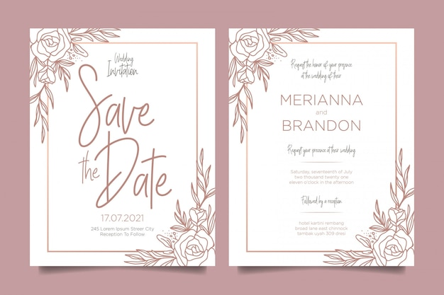 Modern wedding invitations with floral decorations